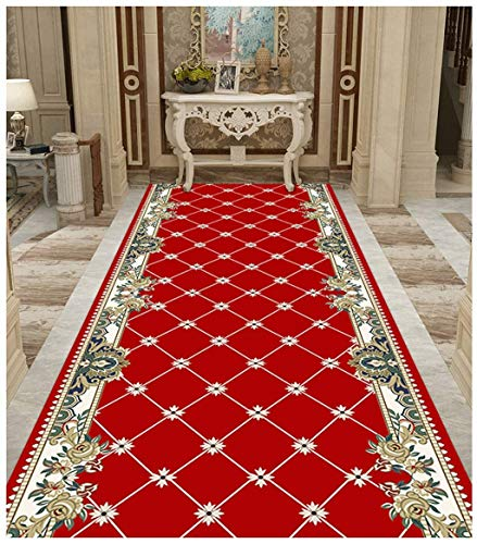 SSH Rug Rectangle Large Area Carpet Red Modern Simple Very Long Hallway Hall Runner Narrow Rugs Custom Length - Sold and Priced Per Meter (Color : Red, Size : 0.6x1m)