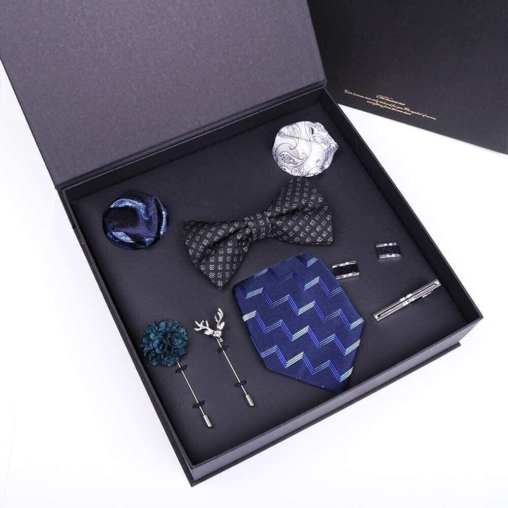 Classic Men's Silk Tie Set Necktie & Pocket Square Tie 100% Silk 7.5Cm Ties Handkerchief Cufflinks Necktie Set for Formal Wedding Business Party Set