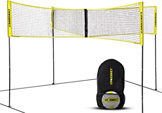 CROSSNET 4 Square Volleyball Net & Game Set - Volleyball Set for Backyards - Yard Games for Kids and Adults - CROSSNET Gam...