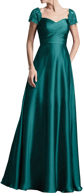 La/_mia Braut Damen Elegant Kurzarm Abendkleider Ballkleider Brautmutterkleider Partykleider Satin Lang A-Linie Rock