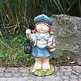 Unibest Gartendeko Gartenzwerg Maritime Mädchenfigur im Matrosenanzug mit Laterne