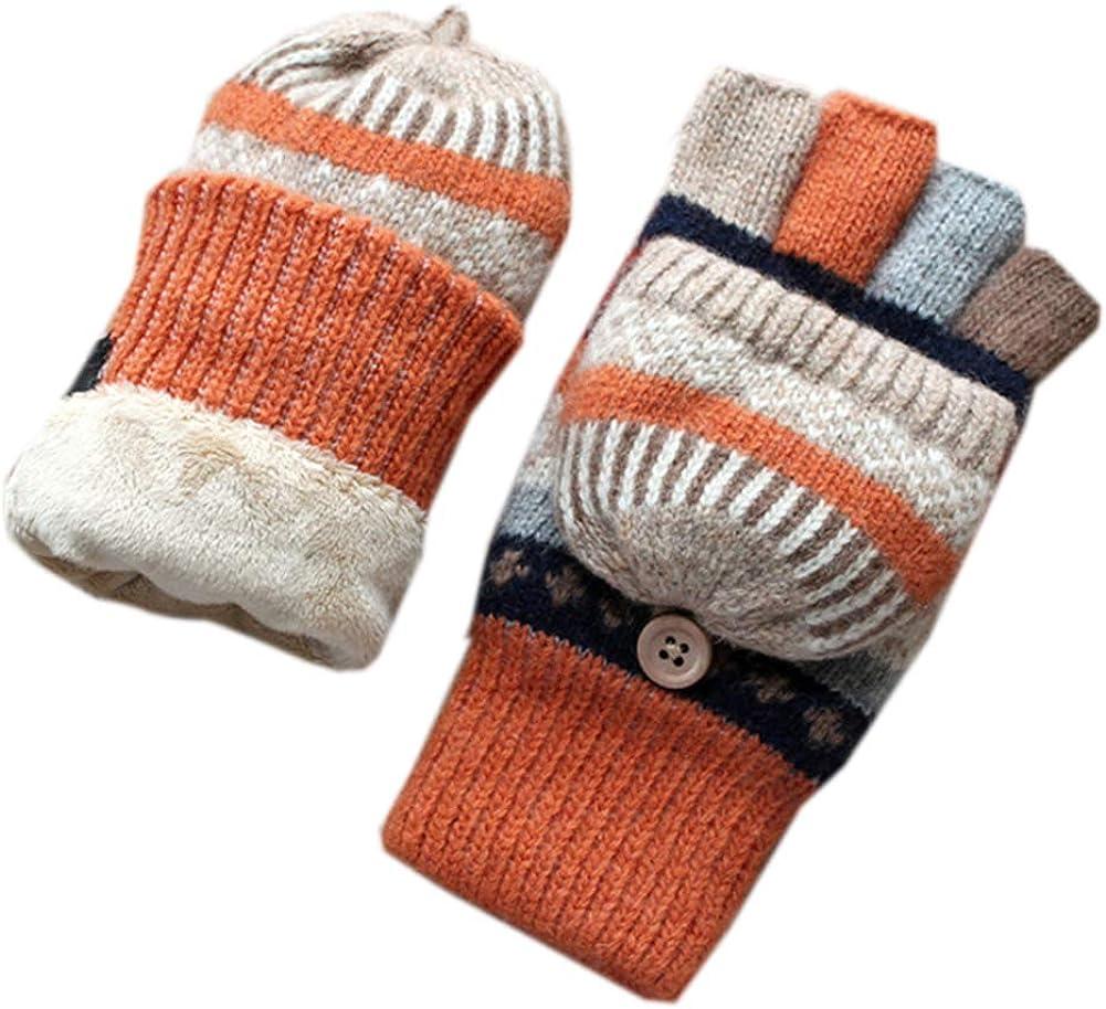 Winter Women Gloves Half-Finger Open-Finger Flipped Knitted Gloves Short Furring Thickened Pure Wool Gloves