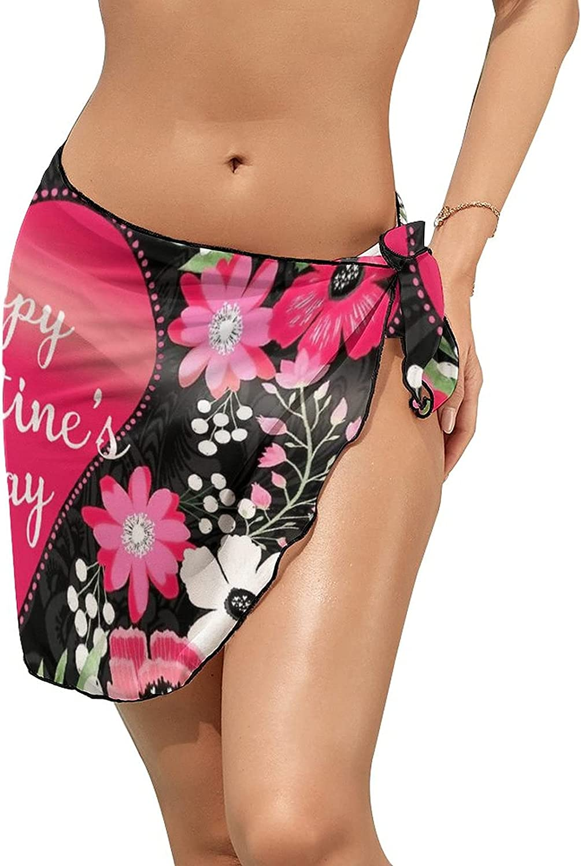 JINJUELS Women Beach Wrap Skirts Valentine's Day Sweet Flowers Personalized Bikini Swimwear Beach Cover Up