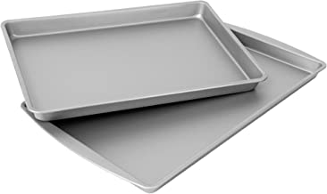 "product image for OvenStuff Non-Stick Cookie Pan and Sheet Pan Set - Includes Two DuraGlide-Coated Nonstick Steel Pans, Includes Large 17.3"" x 11.2"" Cookie Pan and 15.5"" x 10.5"" Sheet Cake Pan"