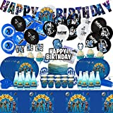 SVZIOOG Party Decorations Birthday Party Supplies, Birthday Party Packs Include Plates, Napkins, Dinnerware, Cups, Balloons, Tablecloths, Banner, Cake Topper (F0TN1TE-1)