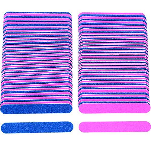 100 Piezas de Limas de Uñas Desechables Tableros de Esmeril de Doble Cara Herramientas de Manicura, Azul y Rosa