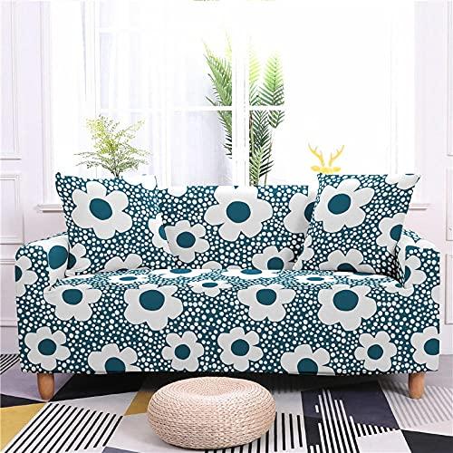 AHKGGM Funda de sofá Estampada Flores de Color Verde Claro y Blanco 3 plazas: 190-230cm