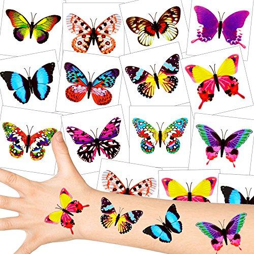 German Trendseller® - Schmetterling Tattoos - Set ┃ NEU ┃ Party Tattoos ┃ Kindergeburtstag ┃ Mitgebsel ┃36 Tattoos