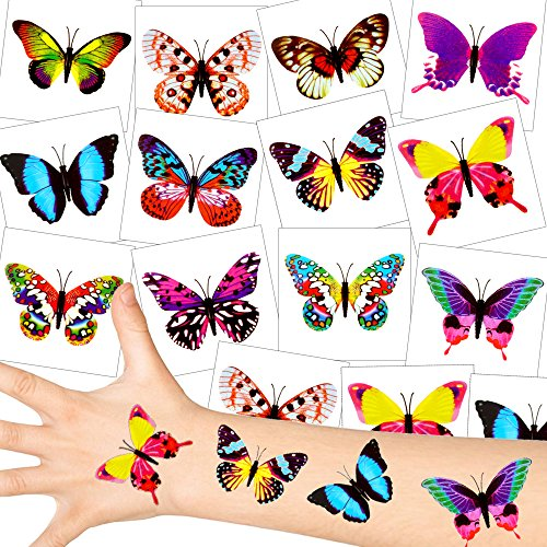 German Trendseller® - Schmetterling Tattoos - Set ┃ NEU ┃ Party Tattoos ┃ Kindergeburtstag ┃ Mitgebsel ┃36 Tattoos