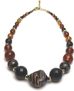 Murano Glass Laguna Necklace Amber Black