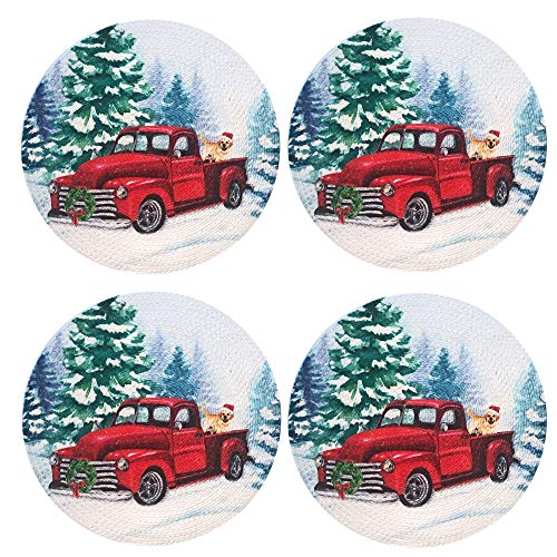 """Lintex Christmas Dog and Classic Truck 15"""" Round Braided Round Placemat Set, 100% Cotton Thick Braided Holiday Truck and Labrador Retriever Place Mats, Set of 4 Placemats"""