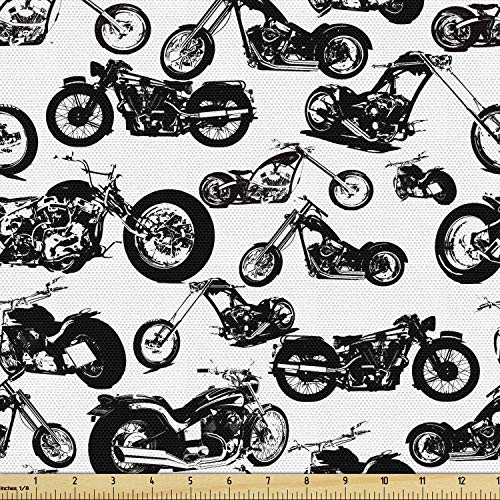 Ambesonne Motorcycle Fabric by The Yard, Retro Chopper Pattern Monochrome Motorbike Design Adventure Cruising Theme, Decorative Fabric for Upholstery and Home Accents, 1 Yard, White and Black