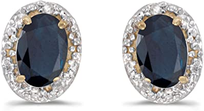 Genuine Oval Sapphire and Diamond Earrings in 14K Gold