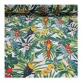 Stoff am Stück Stoff Baumwolle weiß Dschungel Papagei