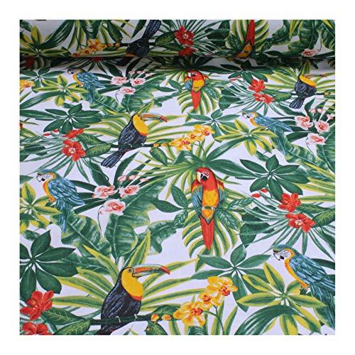 Stoff Baumwolle weiß Dschungel Papagei breit 280 cm Blatt Blätter Palme