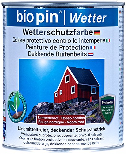 Biopin Wetterschutzfarbe-Schwedenrot - 0,75 l