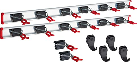 BRUNS Aluminium apparaathouderset, incl. 14 houders en 4 haken, met 2 x rail 1000 mm, flexibele haaklijst voor tuingereeds...