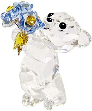 Swarovski Kris Bear Figurine, Stunning Swarovski Crystal 'Forget-Me-Not' Animal Collectible
