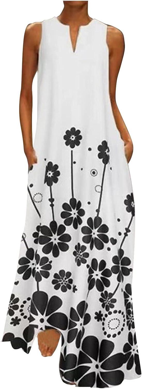 INNOVIERA Sundresses for Women Summer,Womens Plus Size Long Maxi Dress Boho Print V Neck Sleeveless Dress with Pockets