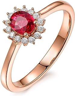 Or Véritable Diamant et forme carrée Rubis Anneau Mariage Bijoux