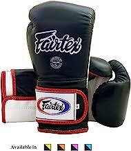 Fairtex Muay Thai Boxing Gloves BGV9 - Heavy Hitter Mexican Style - Minor Change Black Marina Blue 12 14 16 oz Training & Sparring Gloves for Kick Boxing MMA K1