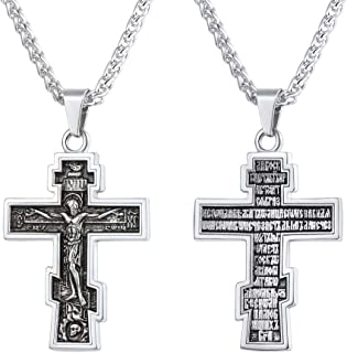 U7 Vintage Crucifix Pendant Christian Jewelry Vintage Black Plated/Stainless Steel/18K Gold Plated Orthodox Cross Catholic Necklace