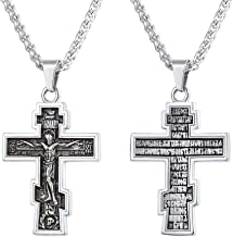 U7 Vintage Crucifix Pendant Christian Jewelry Vintage Black Plated/Stainless Steel/18K Gold Plated Orthodox Cross Catholic Necklace