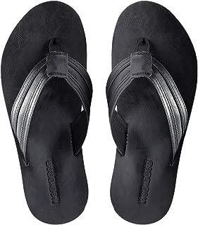 KIIU Mens Flip Flops Lightweight Thong Sandal for Men Casual Beach Slippers Outdoor Black Size: 11.5
