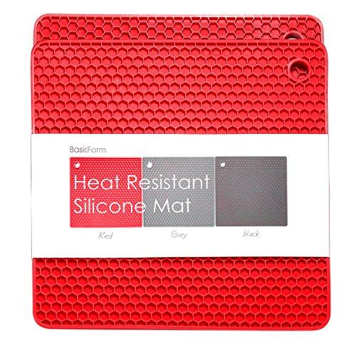 BasicForm Silikon hitzebeständiger Untersetzer, hitzebeständig, multifunktional, Wabenmuster, Rot Viereckig 2 Stück