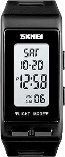 Fashion Women Outdoor Sport Digital Wrist Watch Ladies Waterproof Week Display Watch Casual Women Clock (Black)