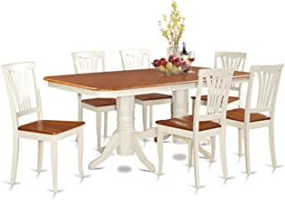 NAAV7-WHI-W 7 PC Dining room set-Dining Table with Leaf and 6 Dining Chairs