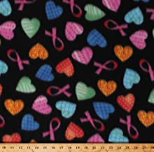 Fleece Pink Ribbons Breast Cancer Awareness Multi-Colored Hearts on Black Fleece Fabric Print by The Yard (5935A-7B-hearts)