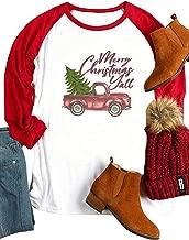Plus Size Merry Christmas Y'all Baseball Shirt Women Xmas Truck Tree Graphic Tees Long Sleeve Raglan Tops