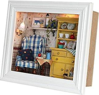 AUNMAS Cadre de Photo de Maison de poupée Bricolage Mini kit de Maison accroché des Cadeaux d'anniversaire de décoration à...