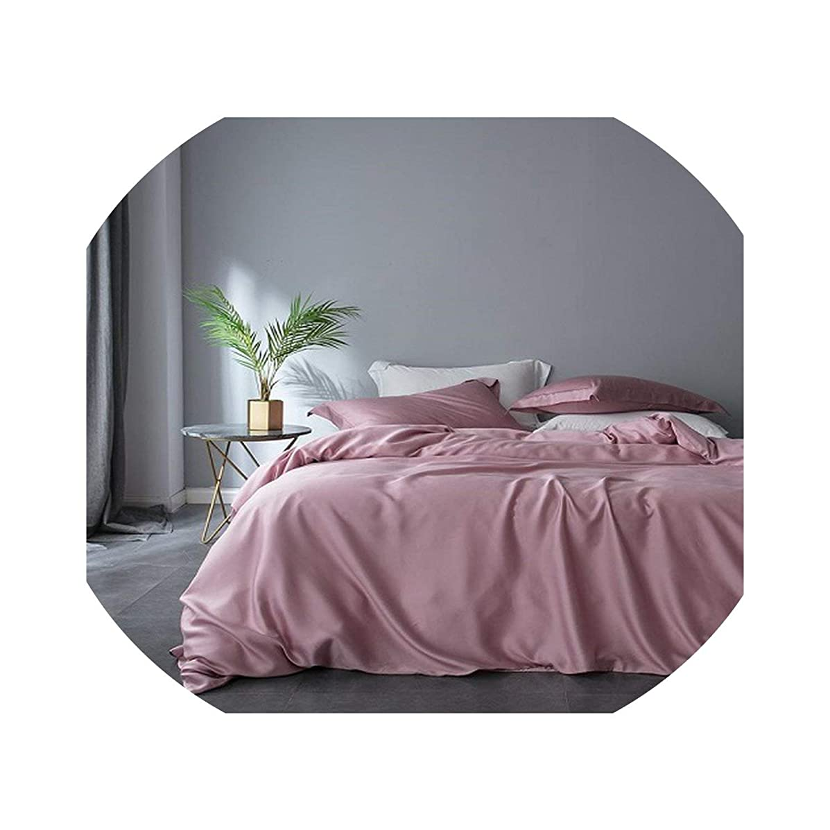 fantasticlife06 Pink Gray White Tencel Silk Soft Bedding Set Luxury Bed Sheet Queen King Size Fitted Sheet Bed Set Duvet Cover,Bedding Set 2,Queen Size 4Pcs,Bed Sheet Style