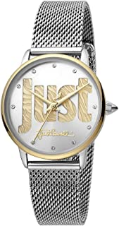 Just Cavalli Logo Silver Dial Stainless Steel Analog Watch For Women, JC1L116M0095