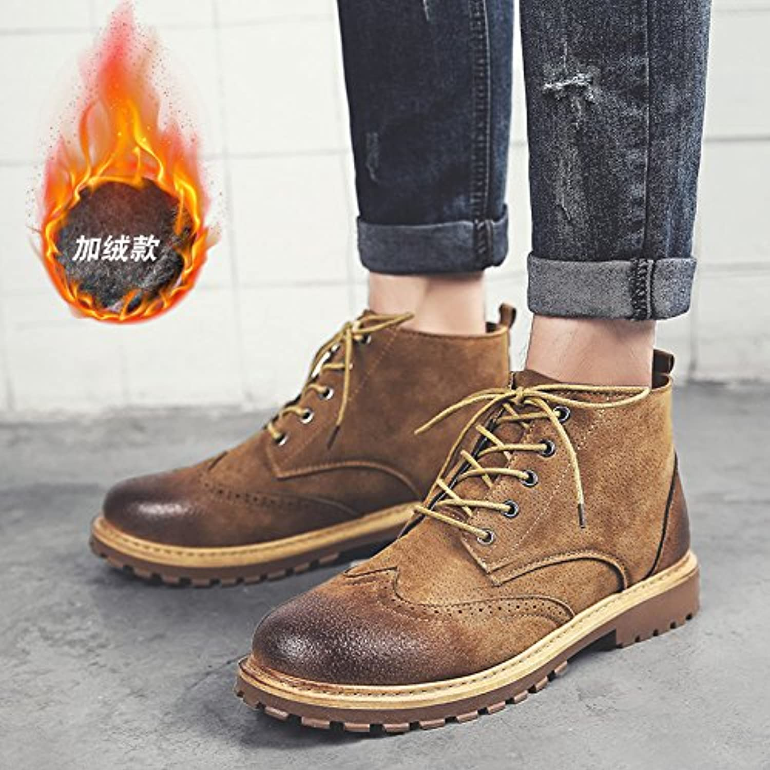 LOVDRAM Boots Men's Autumn Men'S Boots Cotton Warm Snow Boots Men'S shoes High Boots Retro Martin Boots Men'S Boots