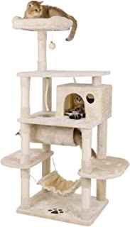 BEWISHOME Cat Tree Condo with Sisal Scratching Posts Perch House Hammock Tunnel, Cat Tower Furniture Kitten Activity Center Pet Kitty Play House Playground Beige MMJ02M