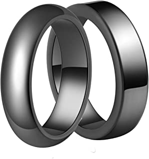 FUTIMELY 2Pcs Hematite Rings Black Hematite Stone Ring for Women Men Anxiety Balance Root Chakra Aabsorbs Negative Energ R...