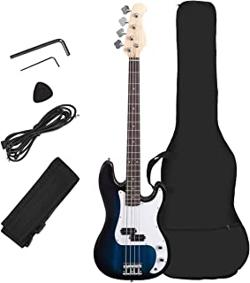 Costzon Full Size Electric 4 String Bass Guitar for Beginner Starter Complete Kit, Rose Fingerboard and Bridge, w/Two Pickups & Two Tone Control, Guitar Bag, Strap, Guitar Pick, Amp Cord (Blue Bass)