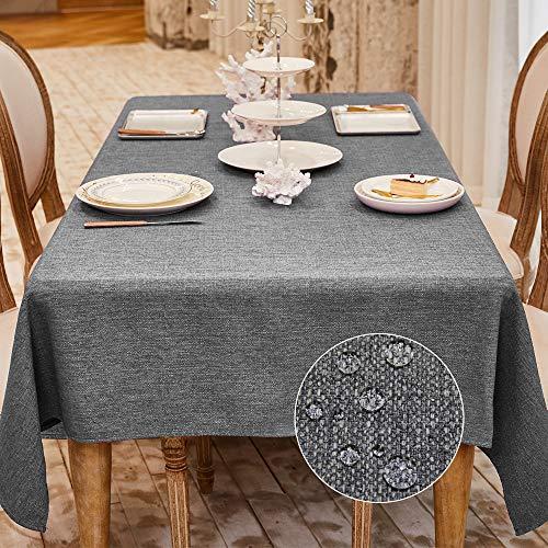 Balcony&Falcon Tischdecke Leinenoptik Tischtuch Leinen Tischdecke Pflegeleicht Farbe und Große Wählbar Eckig Wasserdicht Tischdecke Grau, 120 x 160 cm