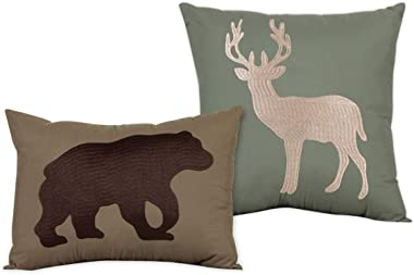 Embroidered Rustic Throw Pillows Filled Cushion for Bed Couch Sofa, Set of 2, Cabin Lodge Deer Bear Green Brown