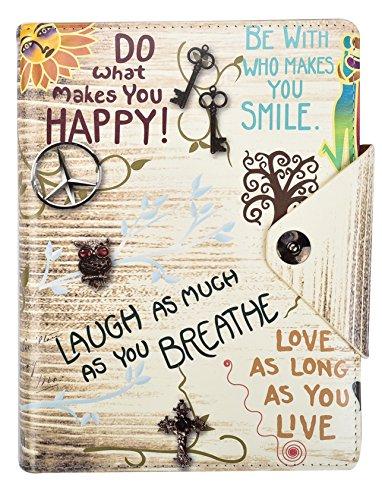 Arpan Notizbuch, A5, liniert, inspirierende Sprüche, gepolsterter Ledereinband mit Druckknopfverschluss, cremefarben