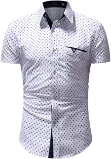 Tiitstoy Men's Business Casual Polka Dot Printed Shirt Button Down Short Sleeve Blouse Tops