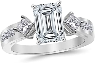 3.75 Ctw 14K White Gold Channel Set 3 Three Stone Princess Emerald Cut GIA Certified Diamond Engagement Ring (3 Ct J Color VS2 Clarity Center Stone)