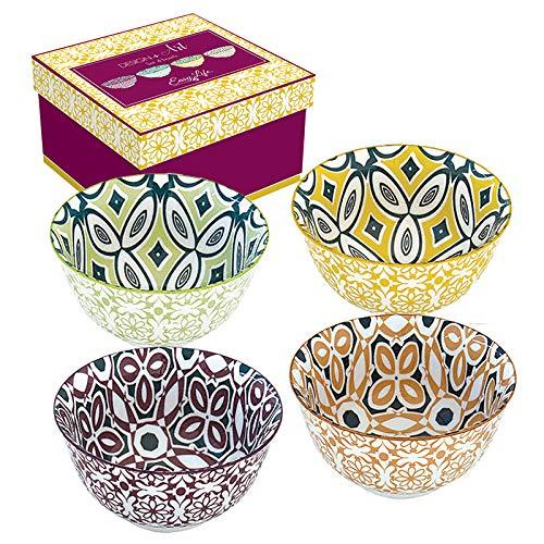 Easy Life 426Bali Design + Art - Cofanetto 4 ciotole in ceramica, 11 cm, multicolore