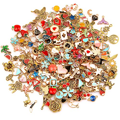 SANNIX 220Pcs Assorted Gold Plated Enamel Charms Necklace Bracelet Pendants for Valentine's Day DIY Jewelry Making and Crafting