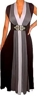 Plus Size Women Black Slimming Empire Waist Block Maxi Dress Made in USA