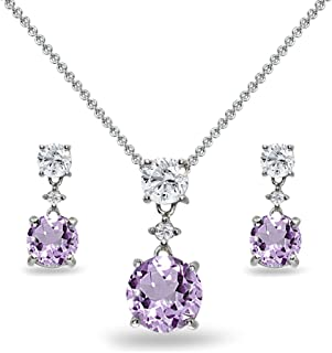 Sterling Silver Genuine, Created or Simulated Gemstone & White Topaz Round Three Stone Dangling Necklace & Stud Earrings Set