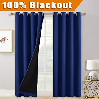 RYB HOME Curtains 84 inch Length - 2 Layers Blackout Curtain Panels with Black Lined for Living Room, Heavy Duty Noise Reduce Light Barrier for Kids Bedroom Nursery, 52 x 84, Navy Blue, 2 Panels